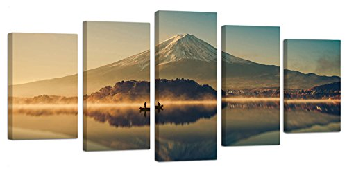 Ardemy Canvas Prints Wall Art Lake Mountain Fuji Landscape Pictures, Large Size 5 Panels/Set Framed Artwork Painting Ready to Hang for Home and Office Decoration