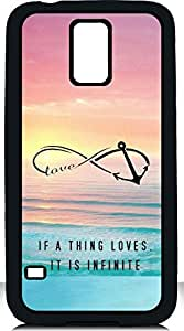 Deal Market LLC -Vintage Cell Phone Case Infinity Anchor Symbol Design Samsung Galaxy S5 Case Ocean Love Quote Anchor If a Thing Loves It Is Infinite Saying Includes Screen Protector