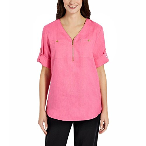 Ellen Tracy Ladies' Size 2XL Roll Tab Linen Tunic Peony Pink