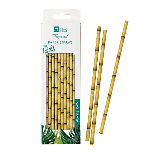 Talking Tables FST6-STRAW Tropical Fiesta Bamboo Paper Straws, Pack of 30, Biodegradable Eco-Friendly]()