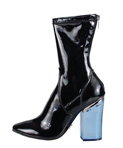 Windsor Smith Vinyl Black Patent Boots–Botas negras de barniz tacón transparente azul negro