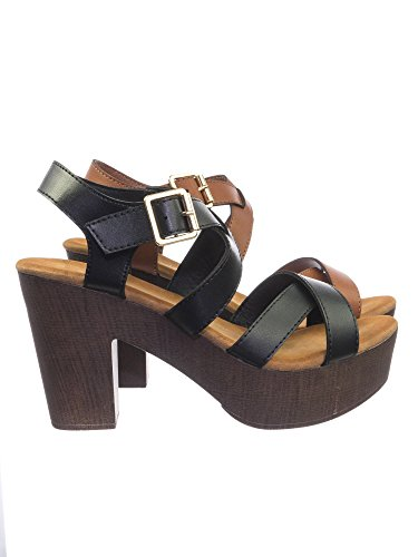 Sculpted Heel Platform Sandal (Aquapillar 70 80 Retro Sculpted Lightweight Wooden Block Heel Platform Clog Sandal)