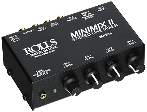 Rolls MX51S Mini Mix 2 Four-Channel Stereo Line Mixer (Mixer Microphone Stereo)