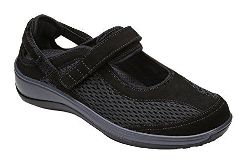 Orthofeet Sanibel Womens Comfort Orthotic Orthopedic Diabetic Mary Jane Shoes Black Fabric and Leather 9 M US by Orthofeet