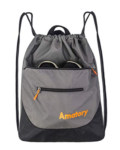 Drawstring Backpack String Bag Sackpack Sports Athletic Gym Sack Men Women Kids (Gray)]()