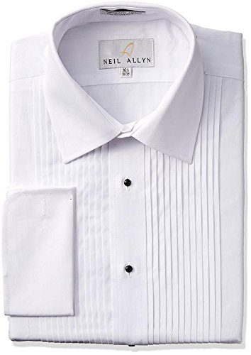 Tuxedo Shirt By Neil Allyn - 100% Cotton with Laydown Collar and French Cuffs (17.5 - 34/35, White) by Neil Allyn