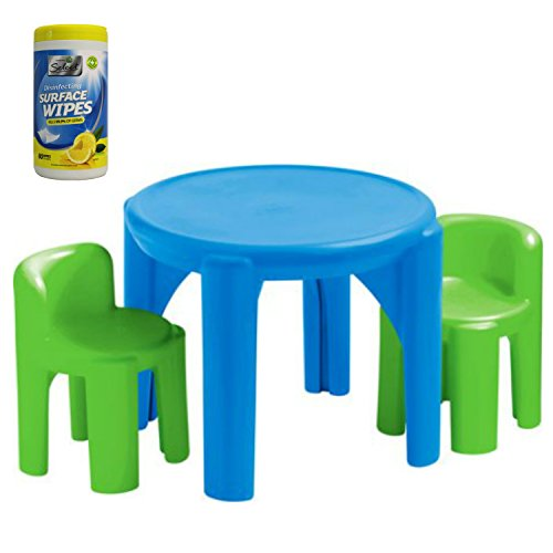 Little Tikes Kids Plastic Play and Activity Table and Chair Set, Green/Blue with 3-Pack Cleaning Wipes, 105 Count (Kiddie Blue Rocker Set)