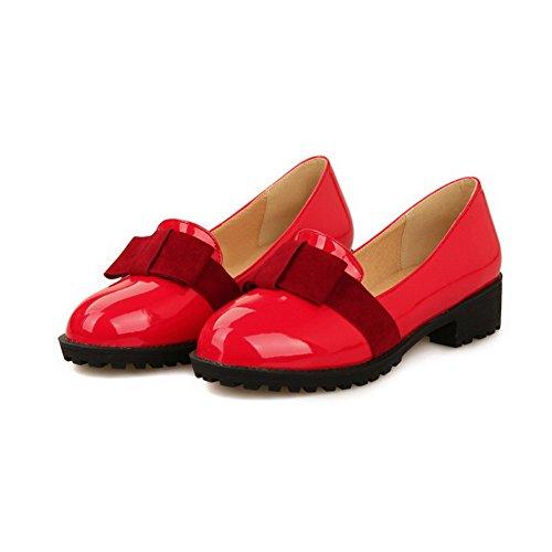 AllhqFashion Damen Rein Niedriger Absatz Ziehen auf Rund Zehe Pumps Schuhe Rot
