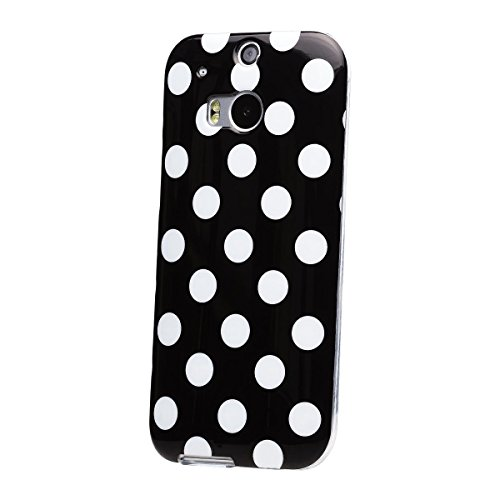 iCues | Compatible with HTC One M8 | Polka Dot Case Black | [Screen Protector Included] Durable Fashion Shell Cute Glossy Cover TPU Pattern Women Girl