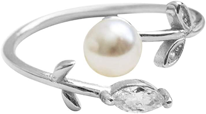 Jewelrypalace Double Round Shape Cultured Pearl Open Ring 925 Sterling Silver