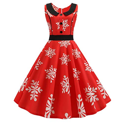 Witspace Women Vintage Swing 50s Housewife Lapel Casual Evening Party Prom Dress -