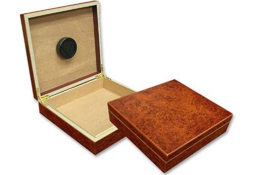 Prestige Import Group 20 Count Burl Cigar Humidor w/ Humidifier