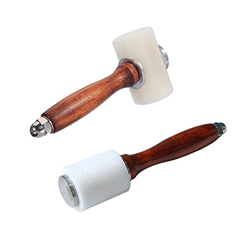 Breynet Wooden Handle Leathercraft Nylon Hammer Mallet, Leather Craft Carving Hammer Sew Leather Stamping Cowhide Supplies Tool Kit for Leathercraft Working 2pcs