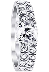 Rhodium Plated Sterling Silver Round Cubic Zirconia Engagement Ring Wedding Band Set