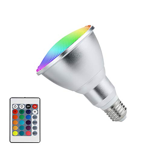 HOPLOM LED Floodlight E27/E26 10W Color Changing Light Bulb PAR30 RGB Dimmable Indoor Outdoor Lamp with Remote Control for Hotel/Bars/Home Decoration (10W PAR30)