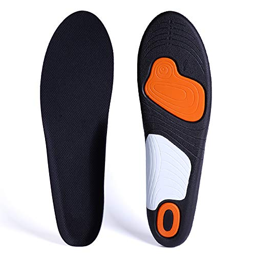 Orthotic Insoles for Men & Women, Full Length Plantar Fasciitis Inserts with Hight Arch Support, Sports Orthopedic Gel Shoes Insoles for Supination, Flat Feet, Heel & Foot Pain (Black, Men8-13)