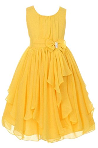 YMING Girls Yoryu Chiffon Dress Rhinestone Waist Bow Princess Dresses 5-6Years Yellow