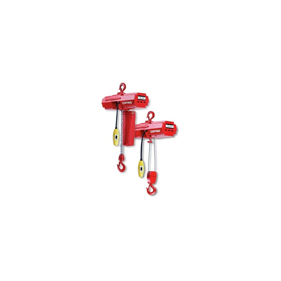 Coffing EMW500B Light Duty Electric Wire Rope Hoist 10` Lift, Capacity 500 Pounds, Voltage 115