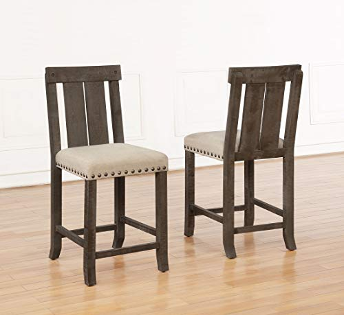 Best Quality Furniture D5 5Pc Counter Height Set (1 Table + 4 Chairs) Beige, Brown Rustic