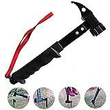 CLDGF Camping Mallet, Cast Steel Hammer, Functional Hammer, Outdoor Camping Tent Hammer, Climbing Tool, Puller