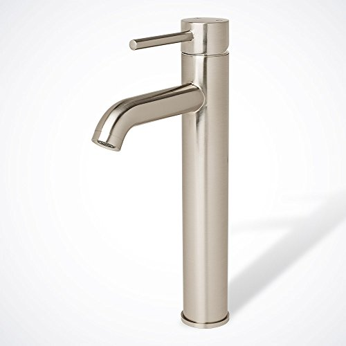 Gothobby Euro Modern Brushed Nickel Bathroom Vessel Sink Faucet Single Handle Lavatory