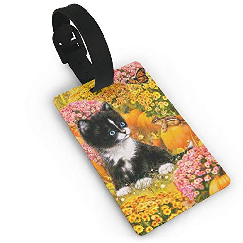 Cute Black Baby Cat Garden Butterfly Unique Pvc Luggage Tag For Women Kids Durable Honeymoon Cruise Travel Identifier Carry On Name Tags Men Set Of Suitcase ID Tags