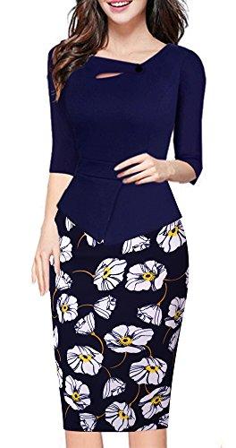 ant Chic Bodycon Formal Dress B288 (M, Dark Blue+Flower) (Chic Party Dresses)