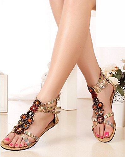 Roman 2015 Schuhe Sandalen Plus Flache New Bohemian Edelstein Frauen Wulstiger Gelb Aprikose Sommer Size AA5xwqCr