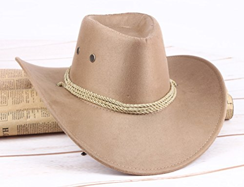 c7530fba2c8ba UwantC Mens Faux Felt Western Cowboy Hat Fedora Outdoor Wide Brim Hat with  Strap