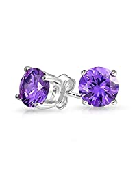 Bling Jewelry 925 Sterling Silver Round Purple CZ Simulated Amethyst Stud Earrings 7mm