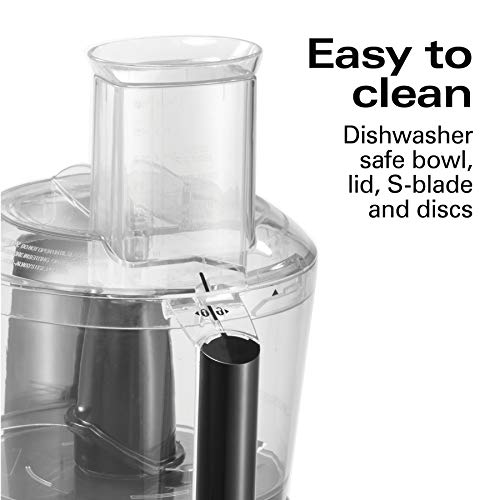 Hamilton Beach Food Processor, Slicer & Vegetable Chopper, 10 Cups, 6 Functions with Crinkle Cut, Electric, Black (70670)