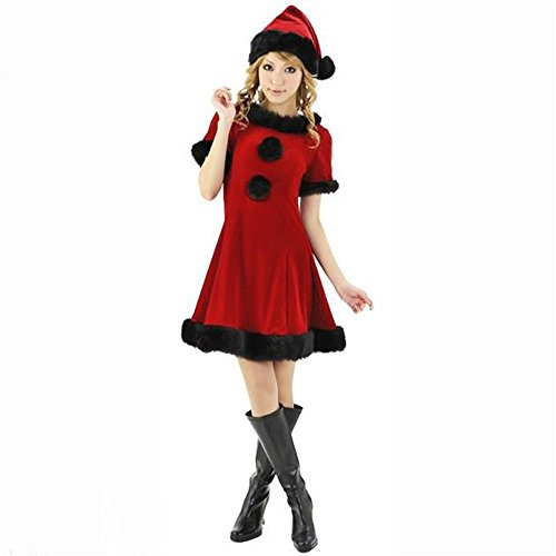 Sexy Masquerade Outfits (Sexy Christmas Costue for Women Adult Santa Helper Honey Eif Cosplay Outfits with Hat (Red))