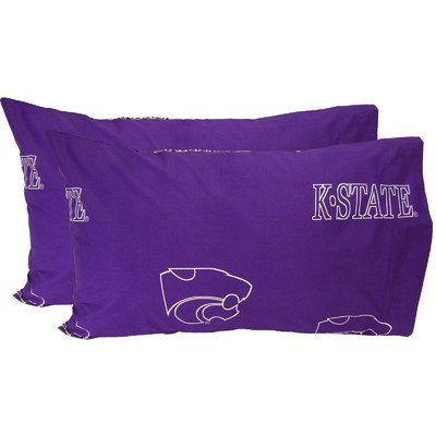 College Covers Kansas State Wildcats Pair of Solid Pillowcase, King by College Covers