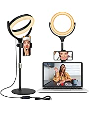Selfie Ring Light with Tripod Stand and Phone Holder, Laptop Light for Video Conferencing, 8'' Desktop Circle Lighting for Make Up, Video Recording, Webcam Chat, Zoom Meeting, Live Streaming (Black)