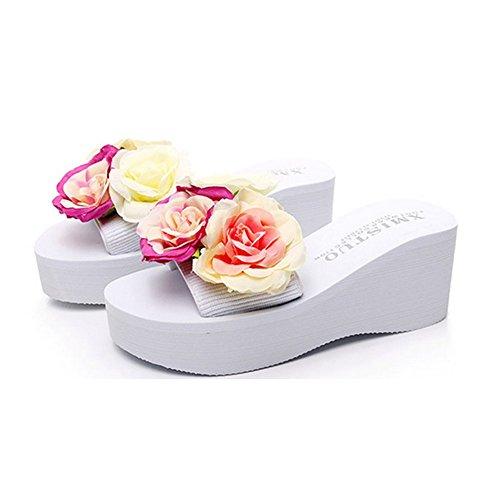 Summer Beach Sandals Ladies Pink High Heels Platform 35 Thick Flip Roses High Wedge Shoes White Flower Flops gwx8wqdHA