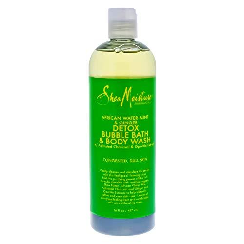 Shea Moisture African Water Mint & Ginger Detox Bubble Bath & Body Wash for Unisex, 16 Ounce