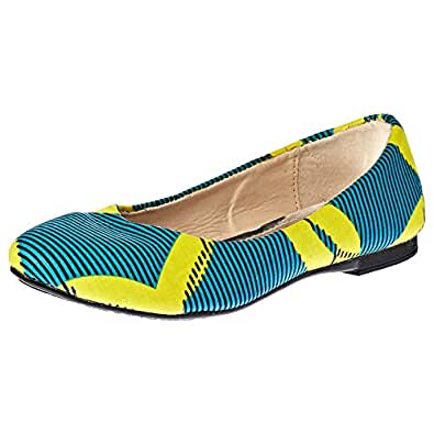 Pambo Flat Shoes for Women - Blue & Yellow