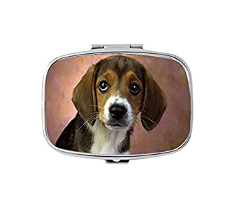 amazon com cute beagle dog rectangle pill box 2 compartment
