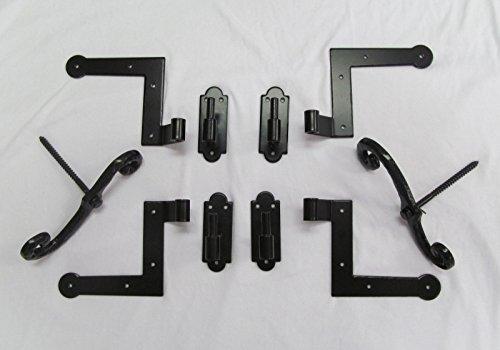 Shutter Hinges Hardware Pintels Brick Mount (4) + Shutter Dogs S Hooks - Mount Eyeglasses Drill