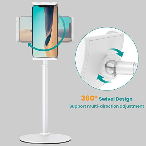Tablet Stand Holder, Klearlook Metallic Multi-Angle Adjustable Stand Holder 360 Degree Swivel Rotation Flexible Arm for All Smartphones and Tablets Up to 12.9 Inches White