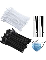 Kalolary 200pcs 5 mm Elastic Bands with Adjustable Buckle High Stretch String Cord Elastic Thread Rope for DIY Earmuff Respirator Necklines Headbands Sewing Making Supplies(Black,White)
