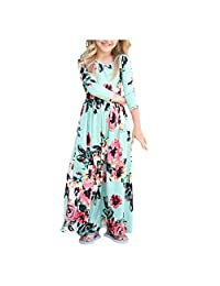 INIBUD Girl Dress 3/4 Sleeve Floral Print Dress Holiday Swing Dresses with Pockets