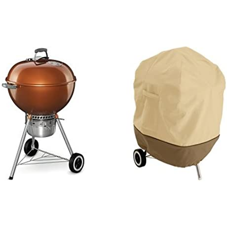 Weber 14402001 Original Kettle Premium Charcoal Grill 22 Inch Copper With Classic Accessories Cover