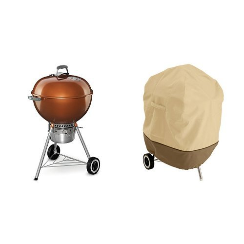 Weber 14402001 Original Kettle Premium Charcoal Grill, 22-Inch, Copper with Classic Accessories Cover (Grill Copper Outdoor Weber)