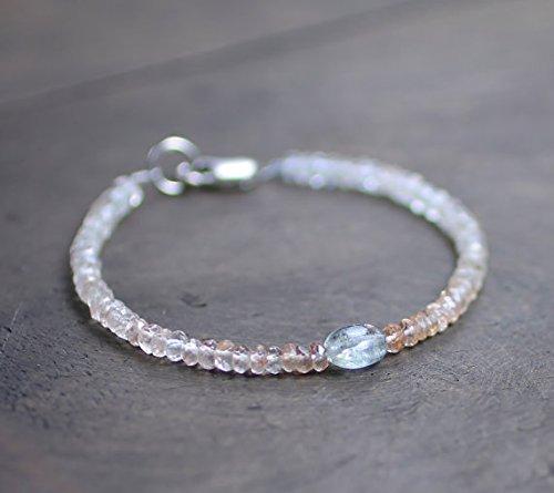 JP_Beads Imperial Topaz & Moss Aquamarine Beaded Bracelet, Pale Brown Aqua Gemstone Bracelet, November Birthstone, Faceted Topaz Crystal Bracelet 3.5mm ()