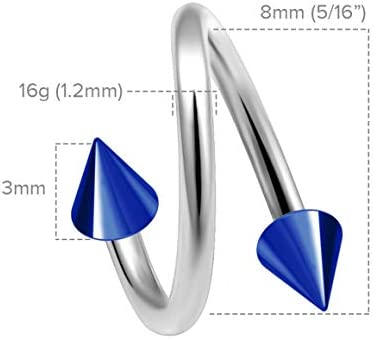 2pc Twisted Barbell 16g Piercing Earrings Helix Cartilage Twist 316LVM Surgical Steel Daith Spiral Belly Button Ring Navel Gauge Twister Body Jewelry 3mm Blue Anodized Spike 8mm