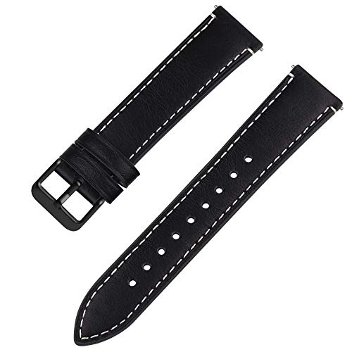 Quick Release Leather Watch Band, Fullmosa 6 Colors Wax Oil 14mm 16mm 18mm 20mm 22mm 24mm Leather Watch Strap,24mm Black+Smoky Grey Buckle-QR