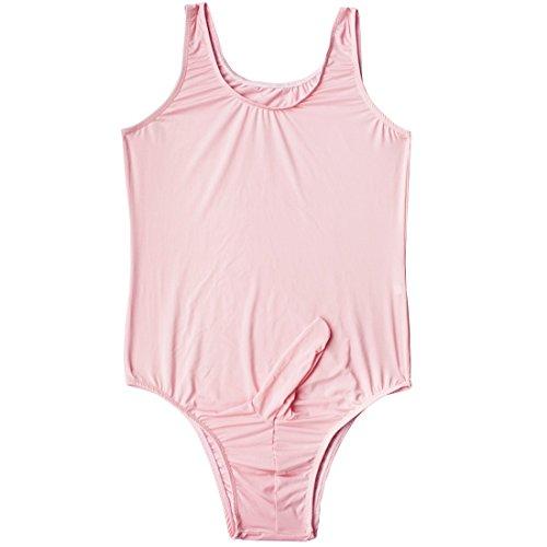 dPois Mens Soft Comfort Satin Silky One-Piece Sissy Sheath Pouch Briefs Panties Lingerie Sleeveless Leotard Bodysuit Pink#2 Medium