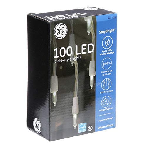 Ge 100 Led Icicle Style Lights Warm White