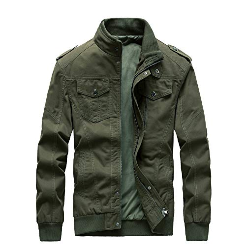 ZhaoDe Men's Casual Winter Cotton Military Zip Jackets Windproof Outdoor Coat Windbreaker(JK1811ArmyGreen-M)